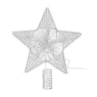 Meinposten-Beleuchtete-Weihnachtsbaumspitze-Tannenbaumspitze-Christbaumspitze-Stern-Baumspitze-mit-Timer-LED-warmwei-Silber