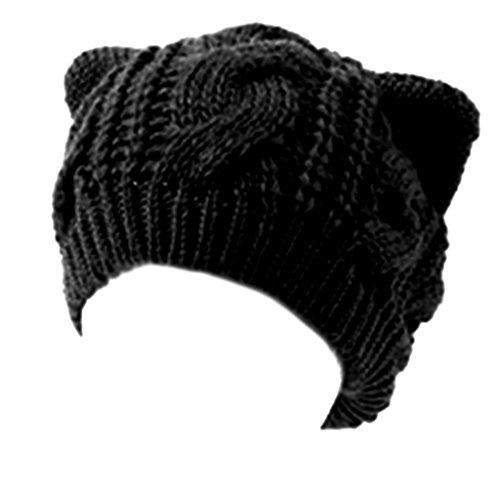 chendongdong Damen Strickmütze, Schwarz, one size (Cat Beanie Knit Ear)