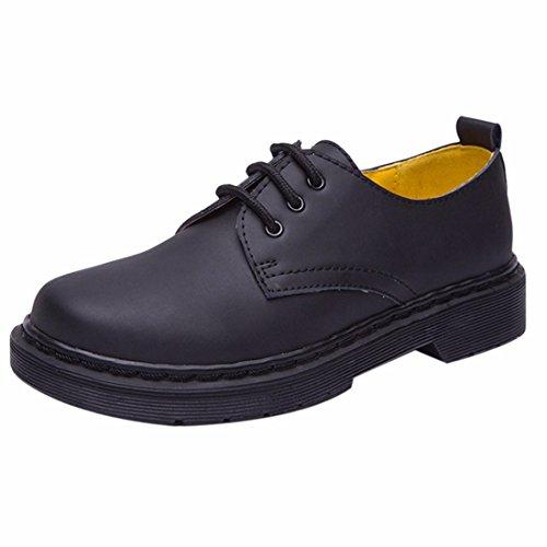Student Stil Leder einzelne Schuhe Frauen runde Zehe flache Ferse Marder Schuhe Black
