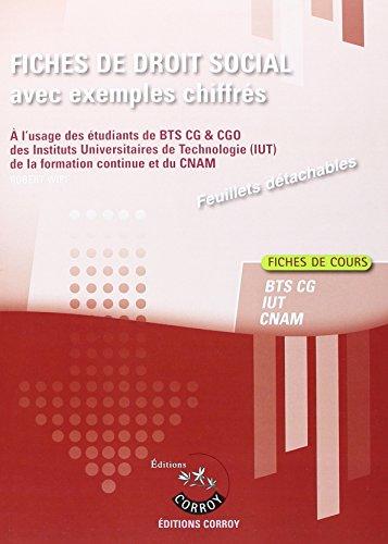 Fiches de droit social avec exemples chiffrés : Processus 4 du BTS CG et processus 2 du CGO - 2e année, Fiches de cours