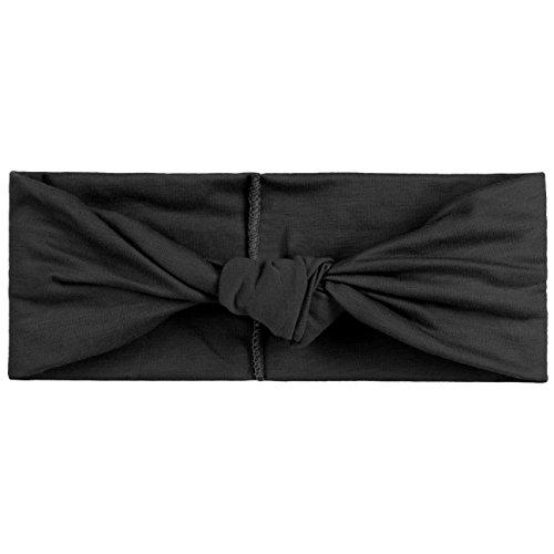Hutshopping Uni Damen Stirnband (Breite: 7,5 cm) | Trendiges Haarband mit Baumwolle Frühjahr/Sommer | Headband in Schwarz | One Size (ca. 53-58 cm) | Sportliches Kopfband -