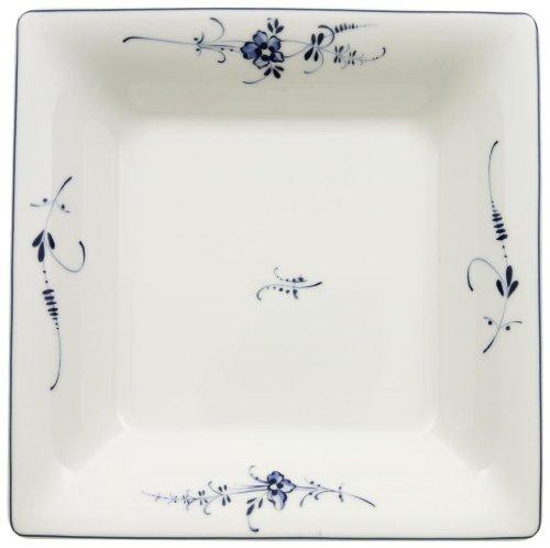 Villeroy & Boch Vieux Luxembourg Assiette creuse carrée, 22 cm, Porcelaine Premium, Blanc/Bleu