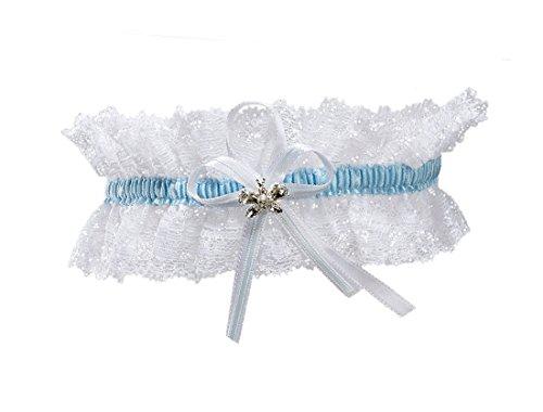 Elastisches Brautstrumpfband - Must Have zur Hochzeit - Mit funkelnden Kristallen in Schmetterlingsform - WEIß/BLAU (Elfenbein Braut-dessous)
