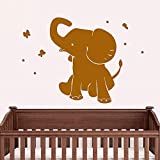 Vinile Adesivo Carino Elefante Farfalla Cartone animato Animale Divertente Camera dei bambini Adesivi per la decorazione della casa 57 * 81 cm