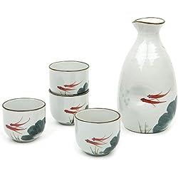 Tazas pintadas a mano. Juego de 5 tazas típicas japonesas de porcelana con diseño de peces