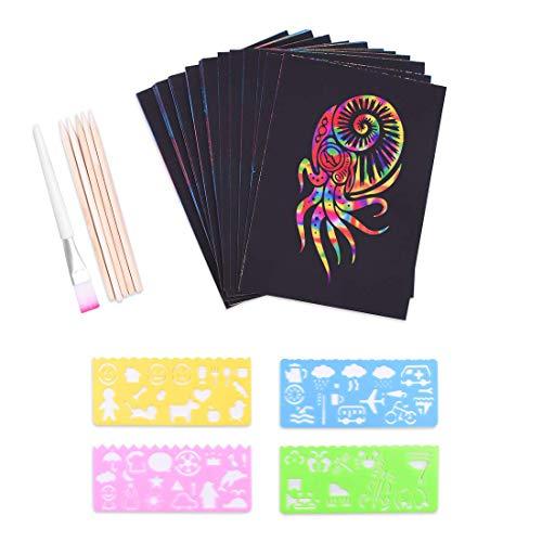 Kratzbilder Set für Kinder,Kratzpapier Set, 50 Große Blätter Regenbogen Kratzpapier zum Zeichnen und Basteln | mit Schablonen, Holzstiften und Stickern (13 x 19cm)