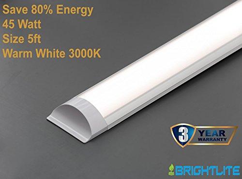 LED Batten Slimline Profil breit Tube Wand- und Deckenleuchte 5ft 1500x 75x 24mm 45W ersetzt 160W Lebensdauer 40000h Warm Weiß 3000K Helligkeit 4500LM (5-licht Palace)
