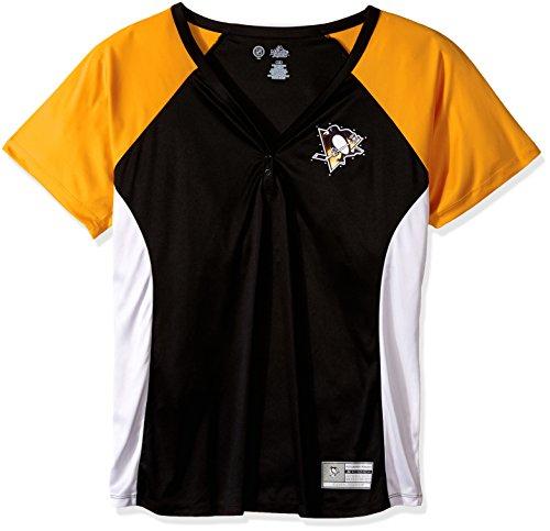 Profile Big & Tall NHL Frauen 'S Plus Poly Short Sleeve 3Button Jacke, Damen, Plus Women's NHL Team 3 Button Fashion Tee, schwarz/Gold, 3X (Womens And Big Tall)