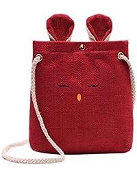HoSayLike Bolso de Hombro Fresco para Mujer Mujeres arpillera Orejas de Gato pequeña Bolsa Cuadrada Simple