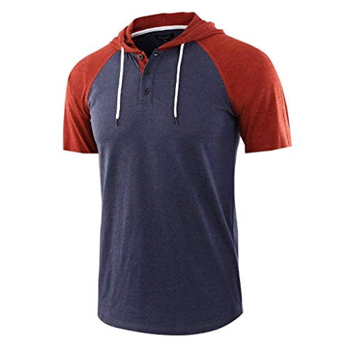 HHyyq Herren t-Shirt Mit Kapuze Und Knopfleiste Short-Sleeved with Hood Summer Short Sleeve Hooded Pullover Drawstring Shirt Hoodie Plain Colour Fitness Business Sweatshirts Tops(Marine,S)