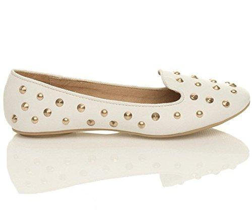Femmes plat clouté chaussons mocassins flâneur ballerine chaussures pointure Blanc Mat