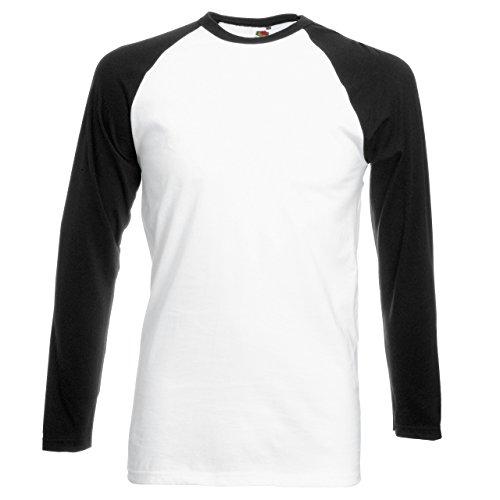 Fruit of the Loom Langarm Baseball T-Shirt SS028 Mehrfarbig - White / Black