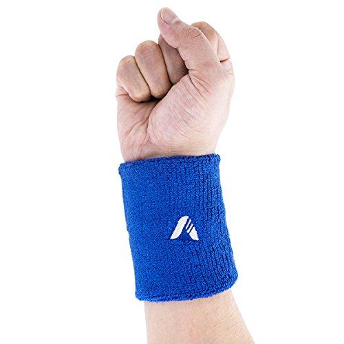 ADIBO Schweißbänder, Damen Herren Sport Wristbands Absorbierende Sweatbands für Tennis Fußball Basketball Leichtathletik Fitness Blau (1 Pack)