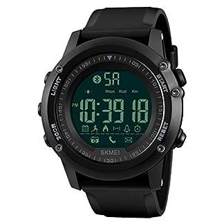 JUE Reloj para Hombres/Mujeres, Reloj Deportivo Inteligente Reloj de Alarma al Aire Libre para montañismo al Aire Libre Multifunción a Prueba de Agua (Negro) A+