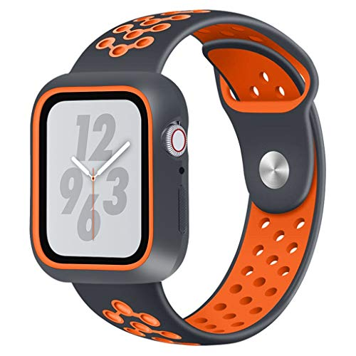 Janly Silicone Bracelet Montre Bande Trou de dragonne de Remplacement Respirant pour Apple Watch pour iWatch série 4 44MM / 40MM (Orange, 44mm)