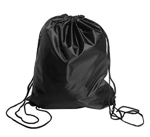 BINGONE Kordelzug Rucksack Nylon Folding Bag für PE-Schule Home Reisen Sport Aufbewahrung (schwarz) (Schwarzer Nylon-drawstring-rucksack)