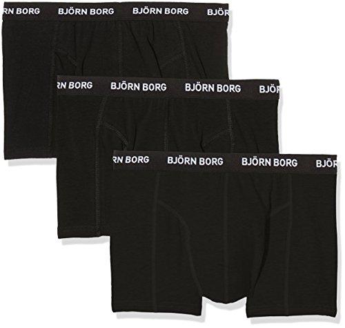 Björn Borg Herren Boxershorts 3p Shorts Noos Solids Schwarz (Black 90011)