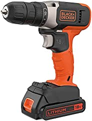 Black+Decker 18V 1.5Ah Li-Ion Cordless Drill Driver for Wood Drilling & Screwdriving/Fastening, Orange/Bla