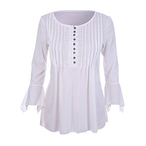 LEvifun Donna Casuale Elegante Maglietta Manica Tunica Bottone Camicia Manica 3/4 a Foglia di Loto Scollo V Casual T-Shirt Tops Blusa bianca