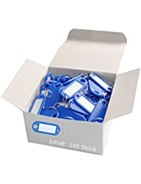 Wedo 262803403 Schlüsselanhänger Kunststoff (mit S-Haken, auswechselbare Etiketten) 100 Stück, blau