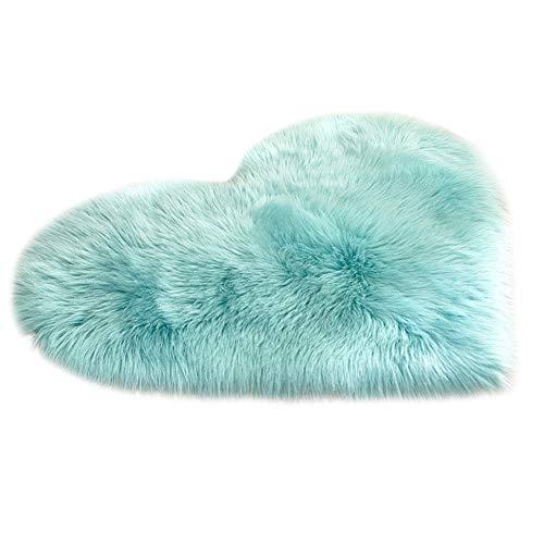 tohole Wollimitation Schaffell Teppich Kunstpelz nicht schiebende Schlafzimmer Pelzmatte Liebe einfarbig Warm gepolstertes Kissen teppichboden teppich 40 X 70 cm or 70 X 90 ()