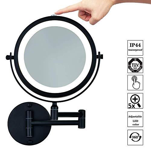 Encendido LED 10X de aumento de afeitar Espejos Nivel montado en la pared for el baño Espejos de maquillaje...