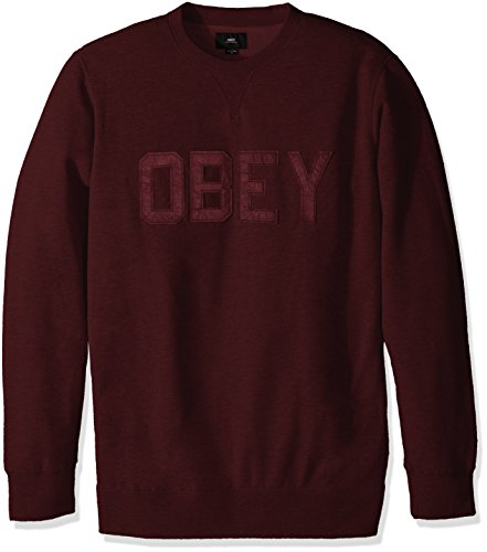Obey, Uomo, North Point Crew Fleece Black Ox Blood, Cotone, Felpe, Rosso, XL EU
