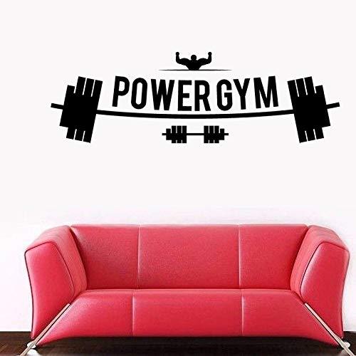 yiyiyaya Fitness Club Power Gym Aufkleber Gym Aufkleber Hantel Poster Vinyl Wandtattoos Stickercor Wandbild Gym Aufkleber 50X157 cm