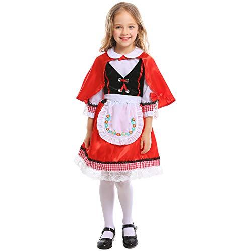 Jeff-chy Halloween Karneval Fee Rotkäppchen Cosplay Kostüm Garden Dress Up Stage Drama Kostüm Red Ocean Kleid Mit Hutschürze Geeignet Für 3-8 Jahre,Rot,S (Kostüm Für Den Drama)