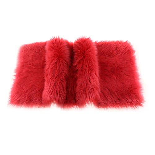 Fenteer Kunstfell Bettvorleger Sitzauflage Teppich Matte für Wohnzimmer Schlafzimmer, 12 Farben - rot