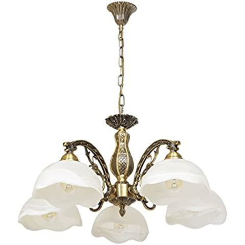Lámpara de techo, làmpara de araña, estilo clásico y vintage, de metal, color bronce antiguo, 5 luces, plafónes de vidrio mate, adornado con ornamento original, para salón o dormitorio, bombillas no incluidas en el pedido diametro -62cm E27 5 x 60 W 230 V