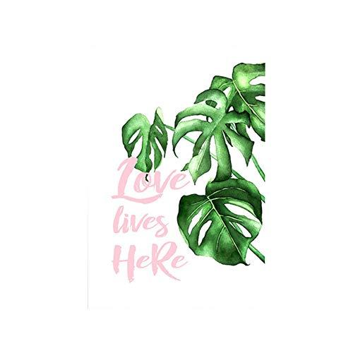Tangbasii, Quadro Decorativo da Parete con Foglie Verdi Tropicali in Stile Nordico, Senza Cornice, per Soggiorno, Camera da Letto, Tela, 1#, 40 * 50cm