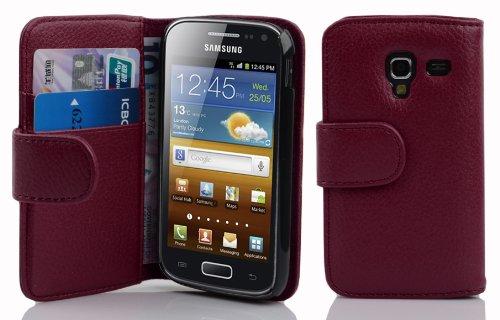 Cadorabo Hülle kompatibel mit Samsung Galaxy ACE 2 Hülle in BORDEAUX LILA Handyhülle mit Kartenfach aus struktriertem Kunstleder