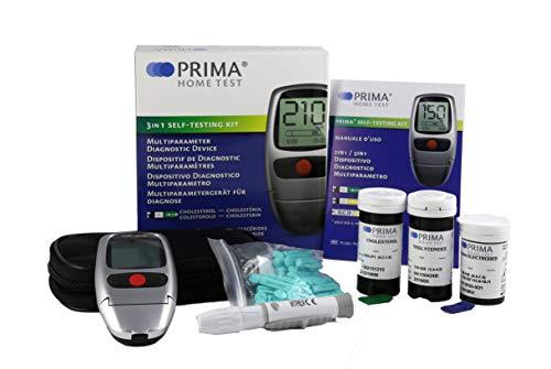 PRIMA 3 in 1 - Misuratore Colesterolo Trigliceridi Glucosio + 5 strisce Colesterolo + 5 Trigliceridi + 10 Glucosio