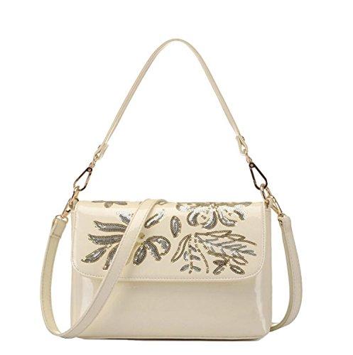 Dame-Schulterbeutel-Diagonalpaketbeutel-Handtaschenstickerei-Pailletten Beiläufiger Kleiner Quadratischer Beutel Beige