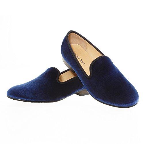 Viaggio West Mens Vintage Scarpe In Velluto Pantofola Mens Ricamo Nobile Scarpe Da Uomo Slipper Tuxedo Mocassini Mocassini Mens Scarpe Mocassini Mens Blu Liscio