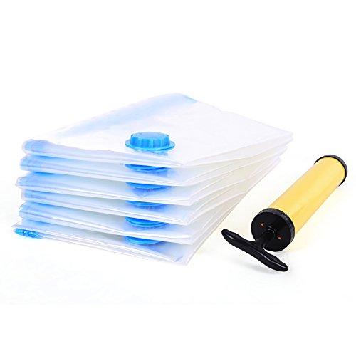 SONGMICS 6 tlg Set Vakuumbeutel für Kleidung mit Pumpe 60 x 80 cm RVM061 (Bettdecke Bett In Einem Beutel)