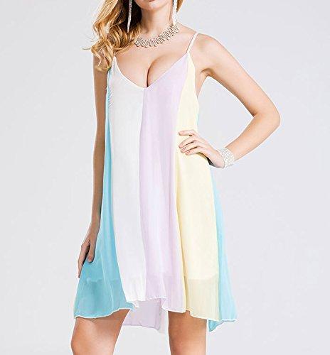 Bigood Robe de Plage Femme Sans Manche Nuisette Arc-en-ciel Casual Eté Lâche Multicolore