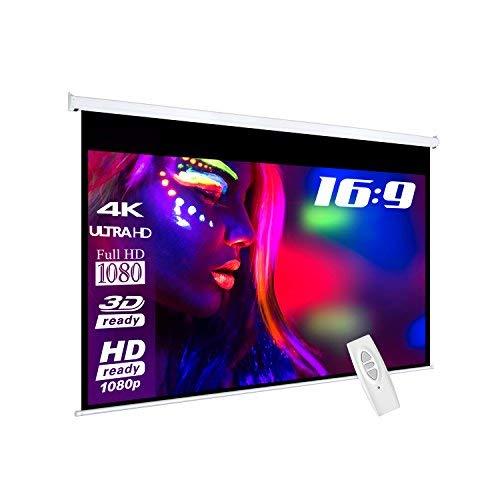 eSmart Basics Motor-Leinwand [Größenauswahl] 240 x 135 cm | Format 16:9 | Programmierbare Fernbedienung | Vollmaskierung | Heimkino elektrische Beamer Projektionsleinwand Motor Leinwand LCD