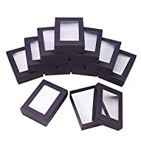 NBEADS 30 Pcs Black Gift Boxes Presentation Box with Padding - Birthday Gift Box - Necklace Box Earring Box Ring Box Cardboard Jewellery Boxes, 9x6.5x2.8cm