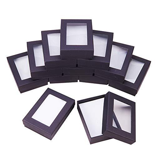 Nbeads Schmuck-Geschenkboxen aus Karton, mit herausnehmbarem Pad für Halsketten, Ohrringe und Ringe zum Valentinstag, 9 x 6 x 3 cm, 60 Stück Schwarz