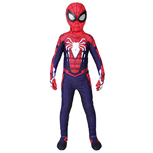 Superhelden Muskel Kostüm - DFRTYE Erwachsene Spiderman Halloween Cosplay 3D Print Spandex Spiderman Overall Superheld Verkleidung Kostüm Mask,Child-XS