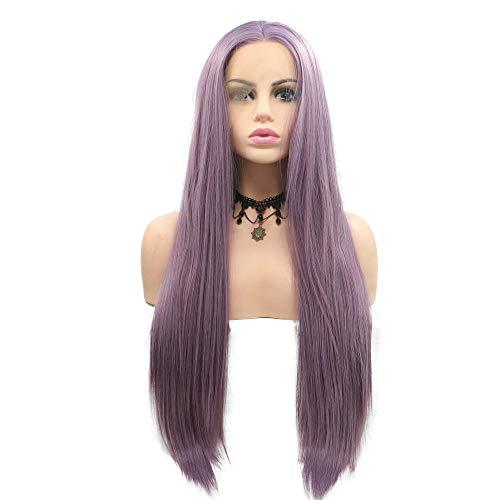 Milky peluca lavanda pelo largo sintético encaje
