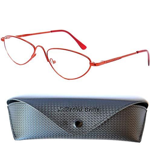 Retro Metall Halbbrille Lesebrille - mit GRATIS Etui | Vintage Edelstahl Halb Rund Rahmen (Rot) mit Federscharnier | Lesehilfe für Damen und Herren von Mini Brille | +1.5 Dioptrien