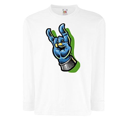 Bambini t-Shirt con Maniche Lunghe Mano di Zombie Un Simbolo di Rock And Roll, Segno delle Corna, Segno di Metallo (12-13 Years Bianco Multicolore)