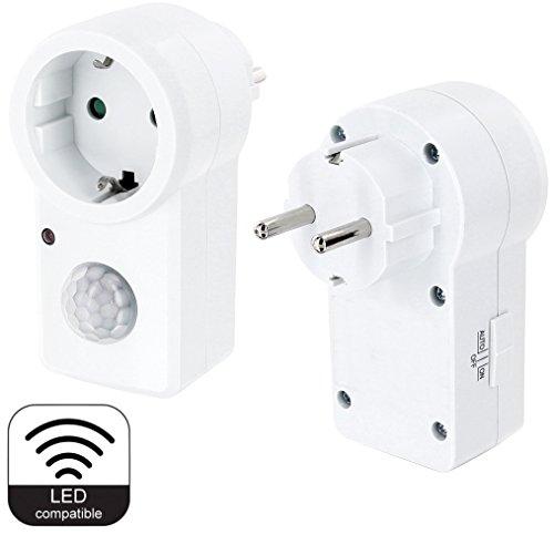 Zwischenstecker mit Bewegungsmelder 120° 230V - LED geeignet + Dämmerungssensor - AUTO - ON - OFF