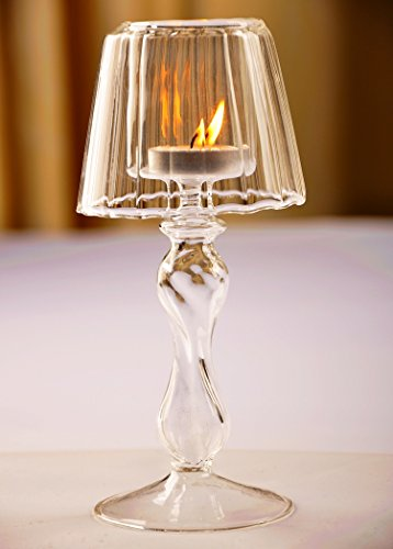 Fenteer Portavelas De Cristal, Lámpara De Vela Votiva De 7.28 Pulgadas, Linterna Decorativa con Velas, Lámpara De Mesa De Velas para Decoración del Hogar, Cen