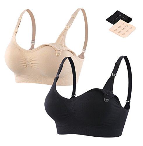 Srizgo Still BH 2er Pack Damen Schwangerschaft Still-BHS zusätzlichen BH-Verlängerungen ohne Bügel(M, Schwarz-haut) (Verpackung/MEHRWEG)