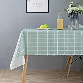 RENMEI Outdoor Tablecloth Wipe Clean Rectangular Waterproof Vinyl PVC Tablecloth for Garden Kitchen 140x200 CM Checked Green