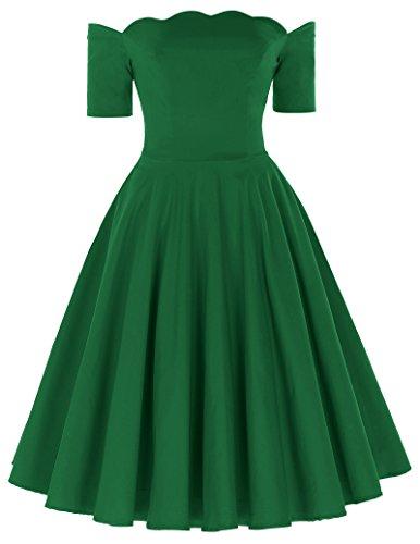 Sommerkleid kurz grün audrey hepburn schwingen rockabilly kleid cocktailkleid Größe M (Grün Sexy Kleid)